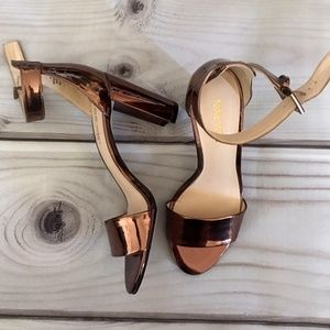Nine West Shiny Copper Heels Size 5